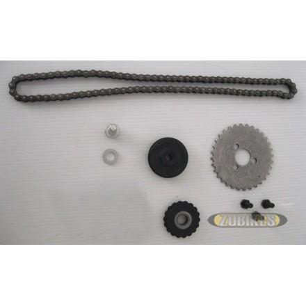 Chaine et pignons de distribution 125cc (le kit)