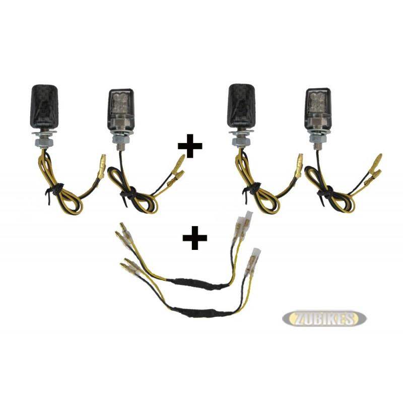 *Kit 4 cligno mini carré carbone leds + résistance