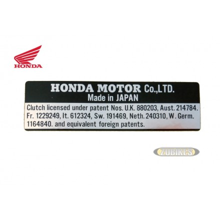 "Sticker Clutch License ""HONDA"" noir/Alu"