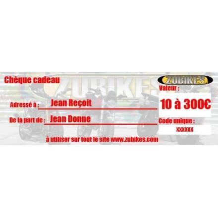 Chèque cadeau de 10 à 300 Euros