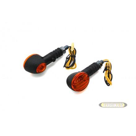 Cligno Ovale Noir-Orange témoin (la paire)