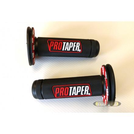 """Grips caoutchouc """"Pro Taper"""" Noir/Rouge (la paire)"""